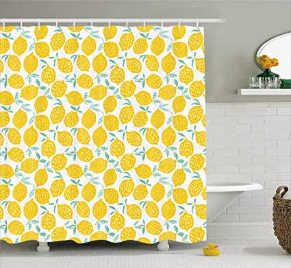 Lunarable Mint And Yellow Shower Curtain Summer Fruit Pattern With Dots Stripes Doodle Lemons