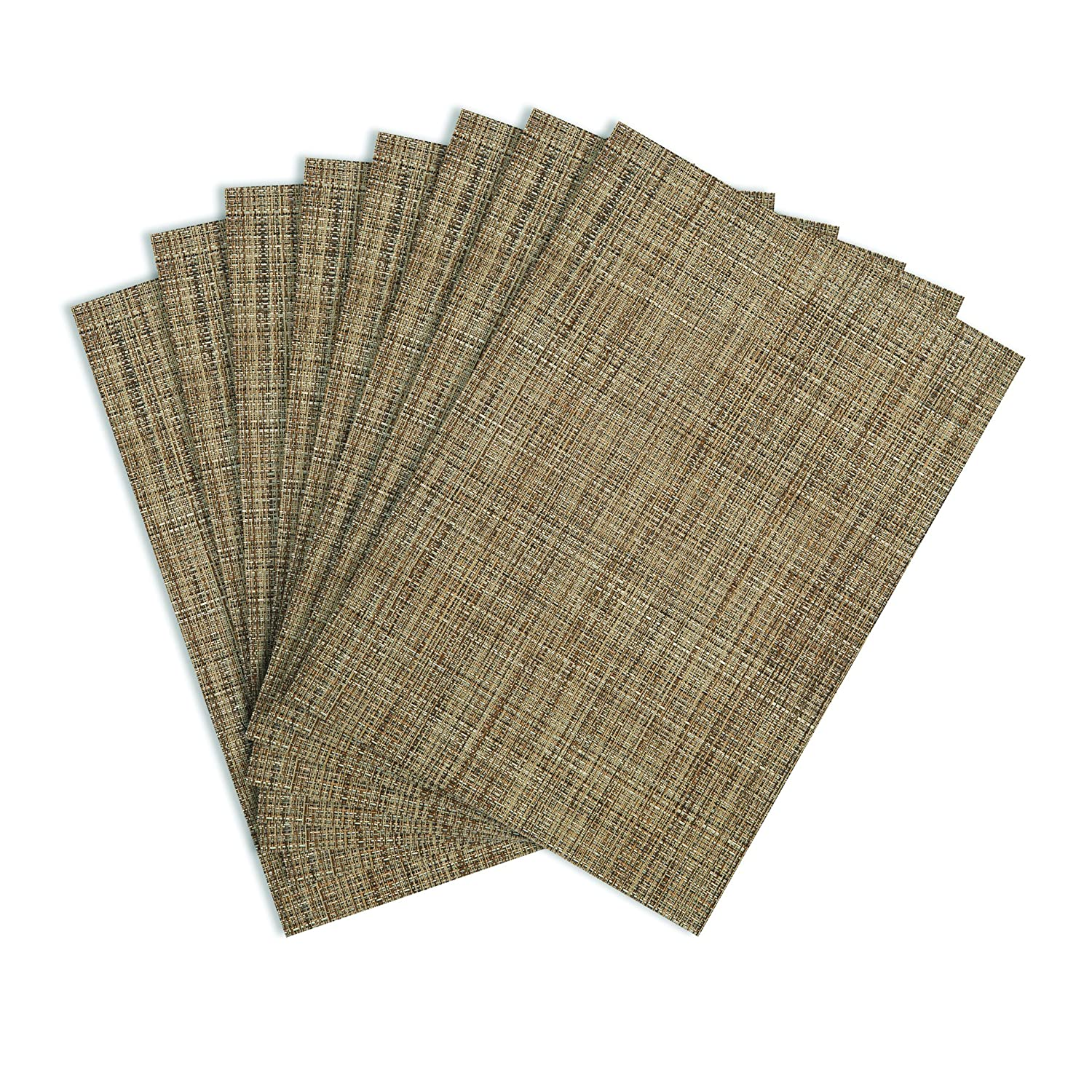 Dining Table Mats Designs - Benson mills tweed woven vinyl placemats natural set of 8