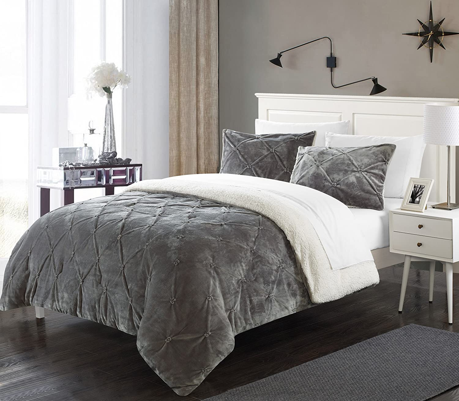 Perfect Home 3 Piece Enzo Pinch Pleated Ruffled and Pintuck Sherpa Lined King Bed In a Bag Comforter Set Grey