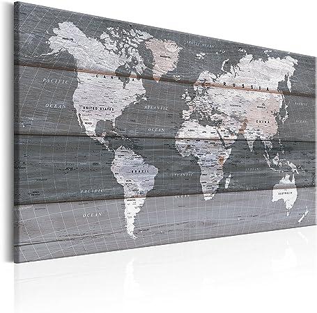 murando Impression sur toile intissee 90x60 cm 1 Piece tableau tableaux decoration murale photo image artistique photographie graphique Poster carte du monde bois carte continente k-B-0015-b-d