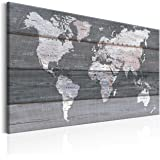 Large black and white world map canvas wall art picture on wooden murando image 90x60 cm 3 colours to choose image printed on canvas gumiabroncs Images