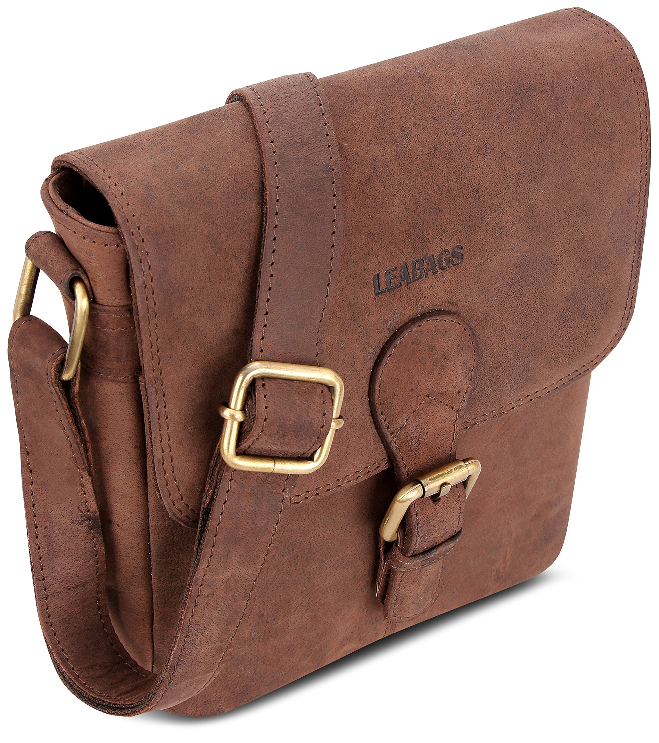 LEABAGS Weston genuine buffalo leather city bag in vintage style - Nutmeg by LEABAGS (Image #4)