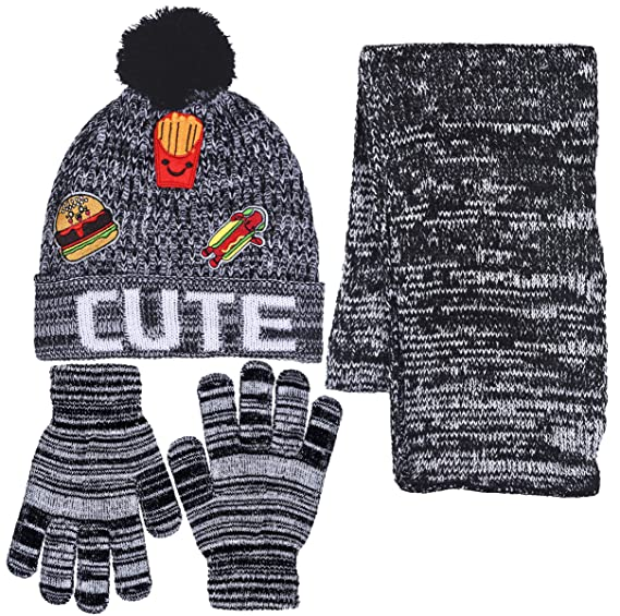 85b4cdfdba3 Girls Personality 3 Piece Knit Cuffed Pom Beanie Scarf   Gloves Set 4 Color  (Cute