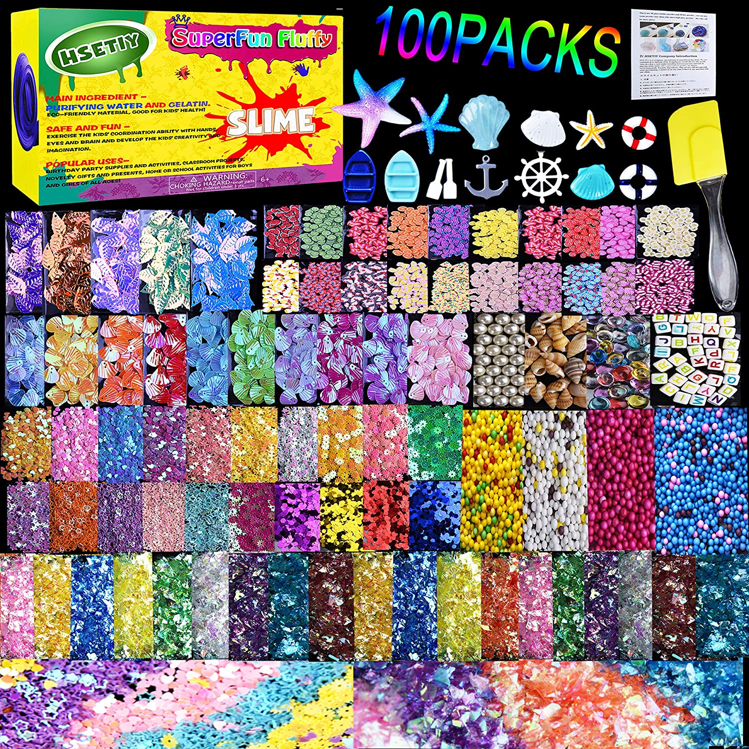 HSETIY Slime Supplies Kit, 100 Pack Slime Stuff Charms Include Floam Balls, Cake Flower Fruit Slices, Fishbowl Beads, Shell, Slime Accessories for DIY Slime Making Kit, Slime Party Decoration(No Slim