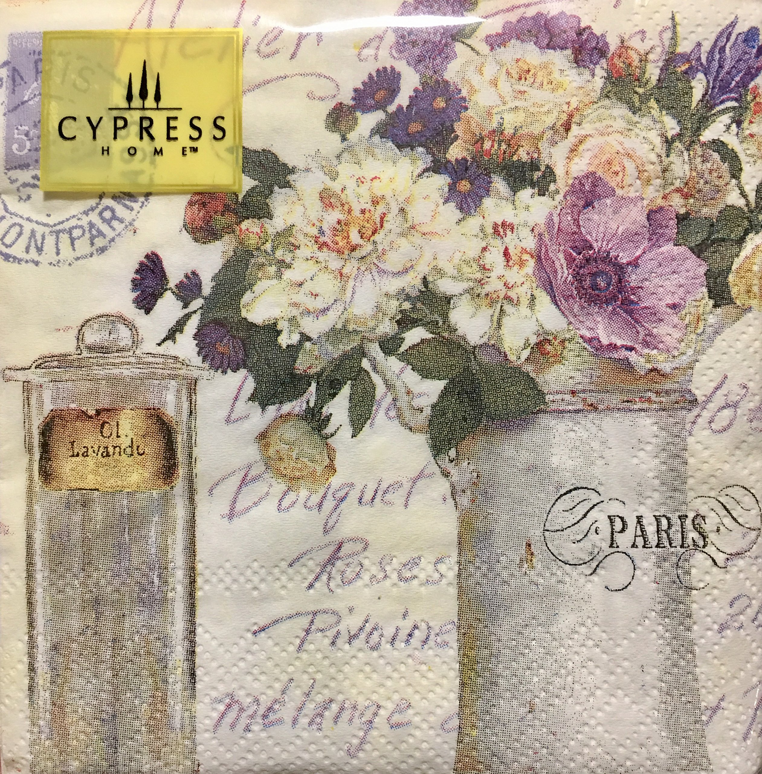 Cypress Home Cocktail Beverage Paper Napkins - Purple & White Flowers with Lavender Oil, 40 ct