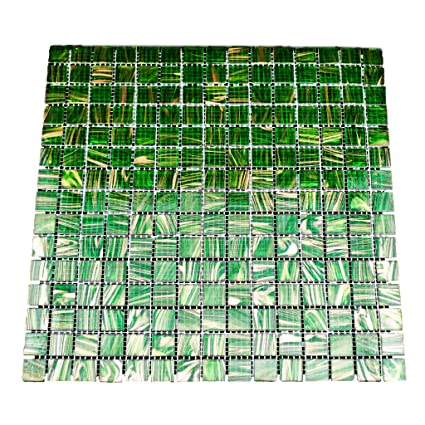 Urbn Contemporary Transluscent Green Iridescent Glass Mosaic Tile With Metallic Bronze Highlight For Kitchen And Bath Single Sheet 13 Inches X 13