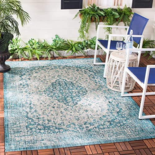 Safavieh Courtyard Collection CY8720-372 Teal and Cream Area 9 x 12 Rug