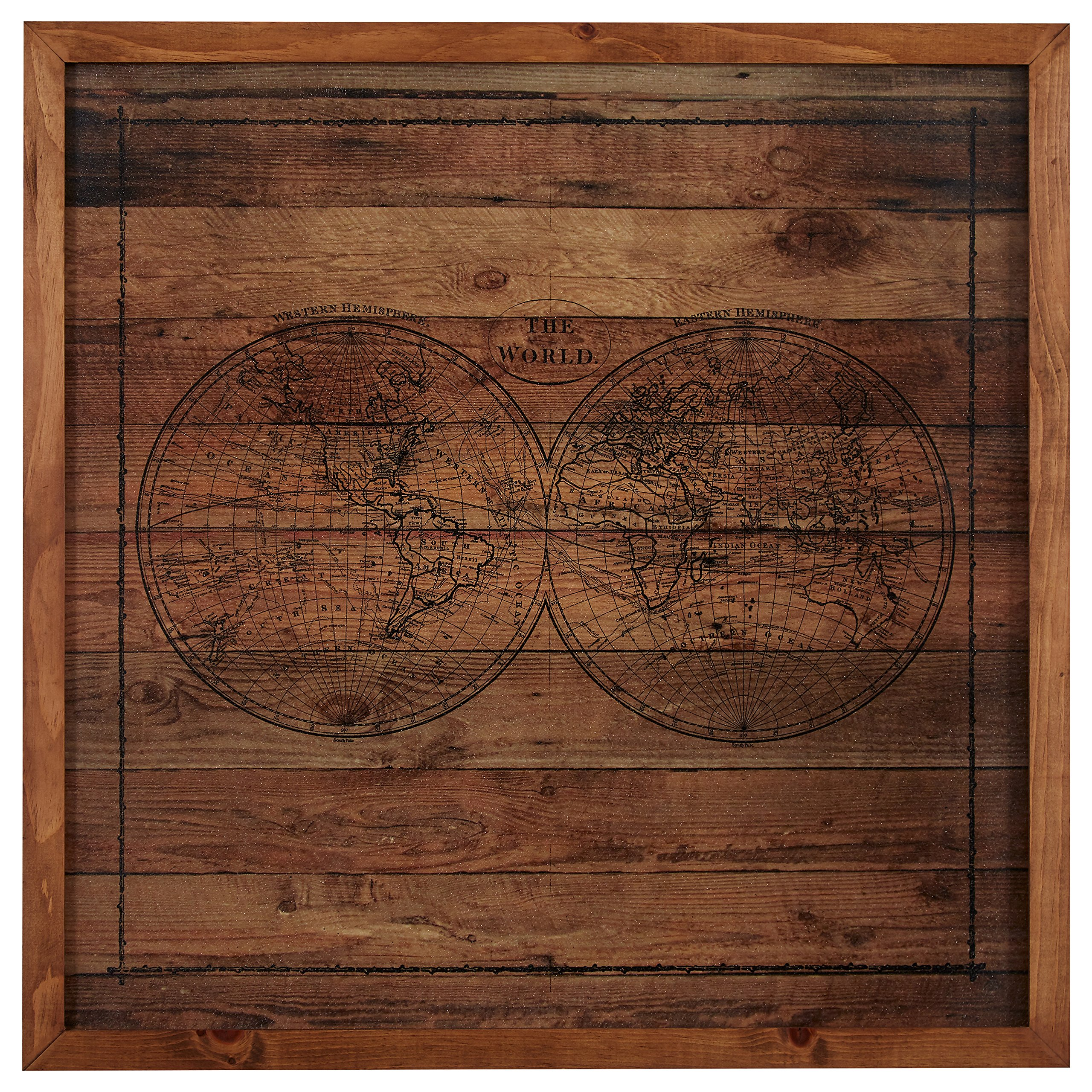 Modern Black Ink Global Map on Paper, on Wood, Brown Frame, 32'' x 32'' by Stone & Beam (Image #1)