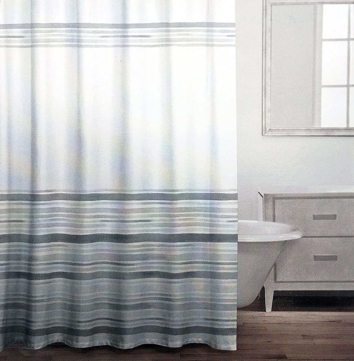 Amazon Caro Fabric Shower Curtain Gray Stripes Pattern Of Varying Widths On White