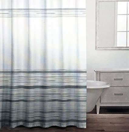 Caro Fabric Shower Curtain Gray Stripes Pattern Of Varying Widths On White
