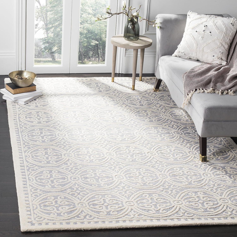 Amazon Com Safavieh Cambridge Collection Cam123d Handmade Moroccan Premium Wool Area Rug 8 X 10 Silver Ivory Furniture Decor