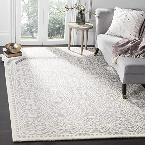 Safavieh Cambridge Collection CAM123D Handcrafted Moroccan Geometric Silver and Ivory Premium Wool Area Rug 6 x 9