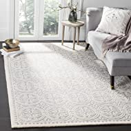 Safavieh Cambridge Collection CAM123D Handcrafted Moroccan Geometric Silver and Ivory Premium Wool Area Rug (6' x 9')