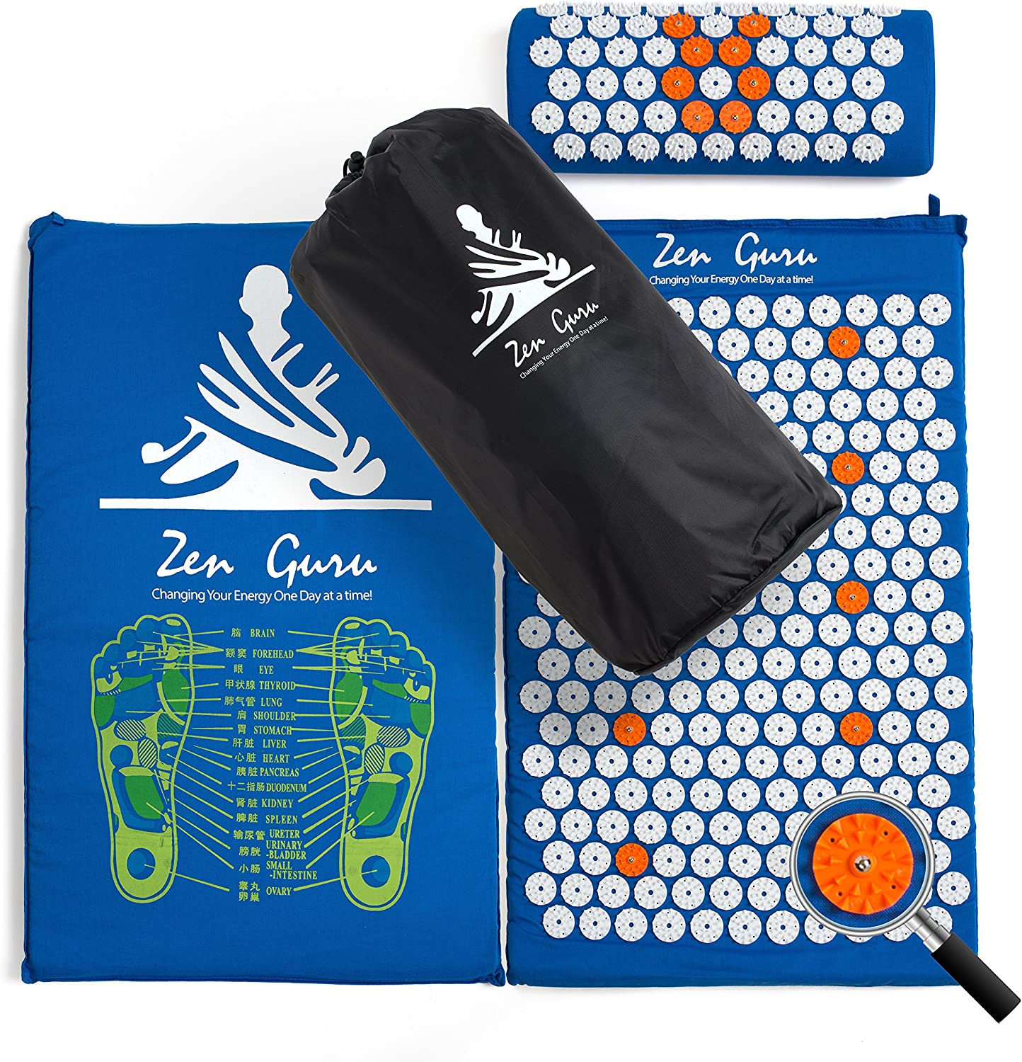 ZenGuru Best Acupressure Mat & Pillow Set - Sale - Effective Remedy for Pain and Stress Relief - with Magnet Therapy - Free Bonuses: Carry Bag & Reflexology Foot Chart - Lifetime Money Back (Blue): Health & Personal Care