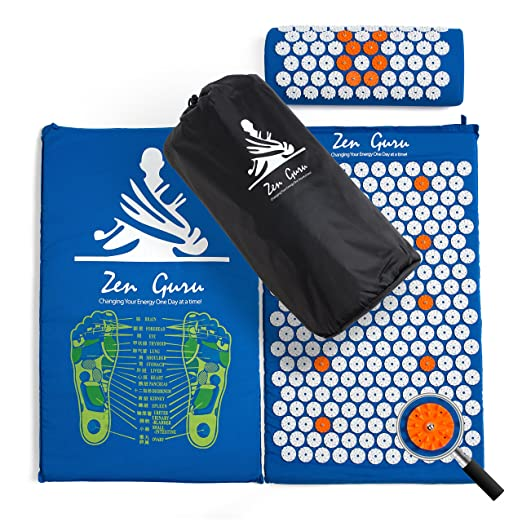 ZenGuru Best Acupressure Mat & Pillow Set - Sale - Effective Remedy for Pain and Stress Relief - with Magnet Therapy - Free Bonuses: Carry Bag & Reflexology Foot Chart - Lifetime Money Back (Blue)