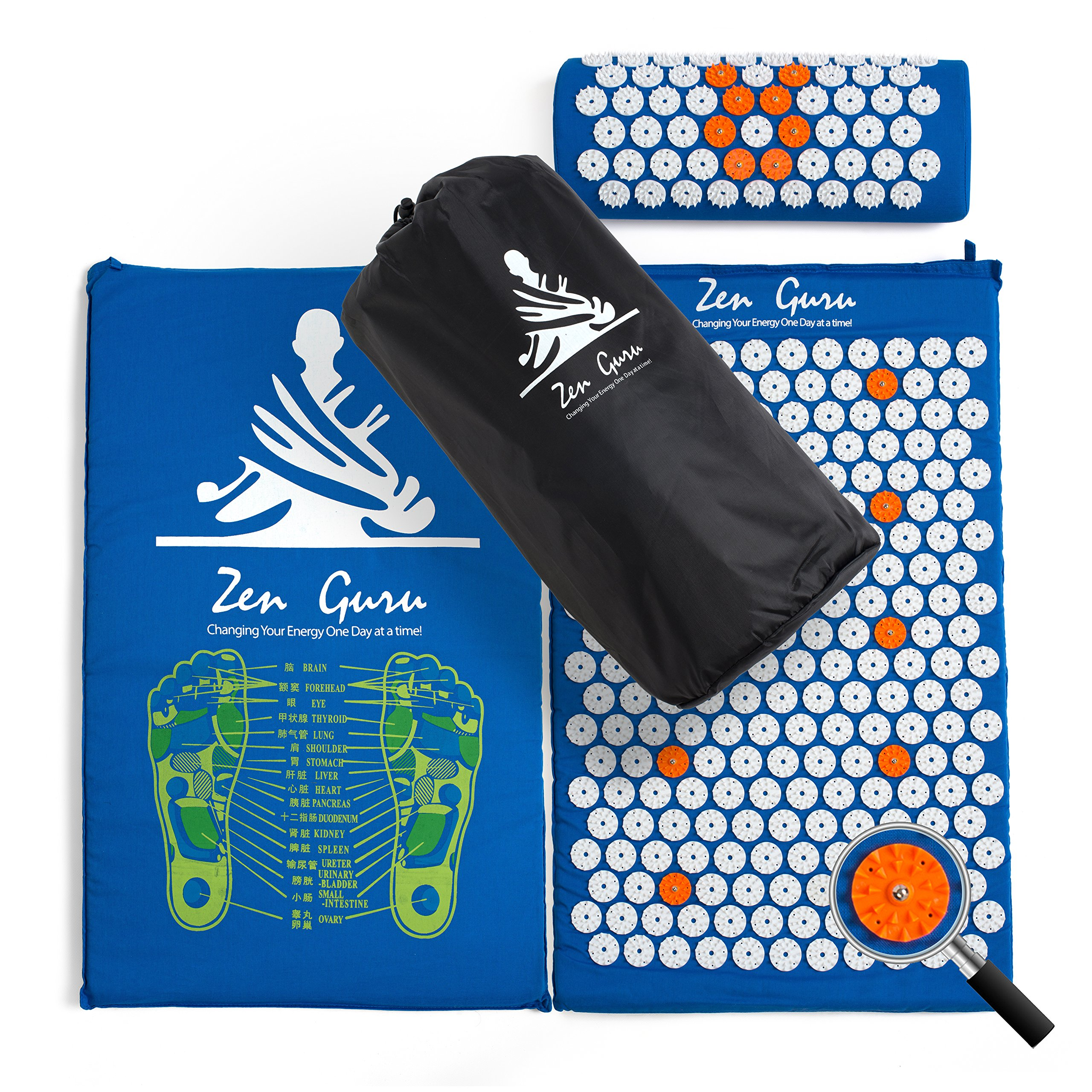 Best Acupressure Mat & Pillow Set - SALE - Effective Remedy for Pain and Stress Relief - With Magnet Therapy - FREE BONUSES: Carry Bag & Reflexology Foot Chart - LIFETIME MONEY BACK - ZenGuru (Blue)