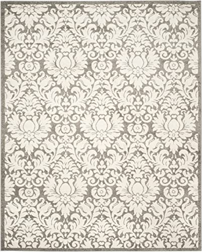 Safavieh Amherst Collection AMT427R Damask Area Rug, 9 x 12 , Dark Grey Beige