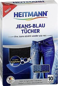 Heitmann Jeans Blau Tücher (10 Tücher, Blau): Färbetücher für alte Jeans im neuen Look, Farb-Erhalt in Jeansblau beim Waschen