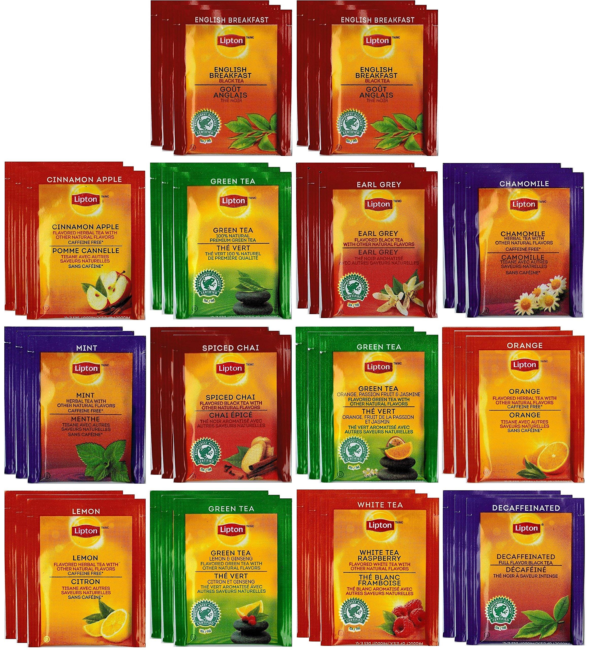 By The Cup Honey Stix and Tea Bag Gift Set - Lipton Tea Bag Sampler - 42 Count Assortment