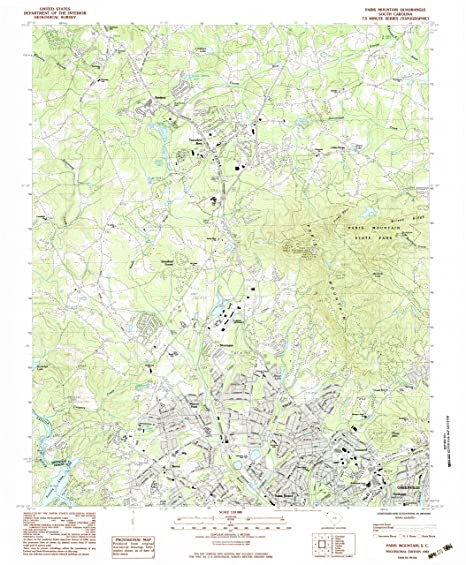 Amazon Com Yellowmaps Paris Mountain Sc Topo Map 1 24000 Scale