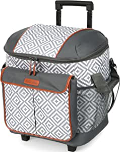 Arctic Zone 44 Can Hot/Cold Insulated Rolling Tote, Diamond Mosaic - Gray/White