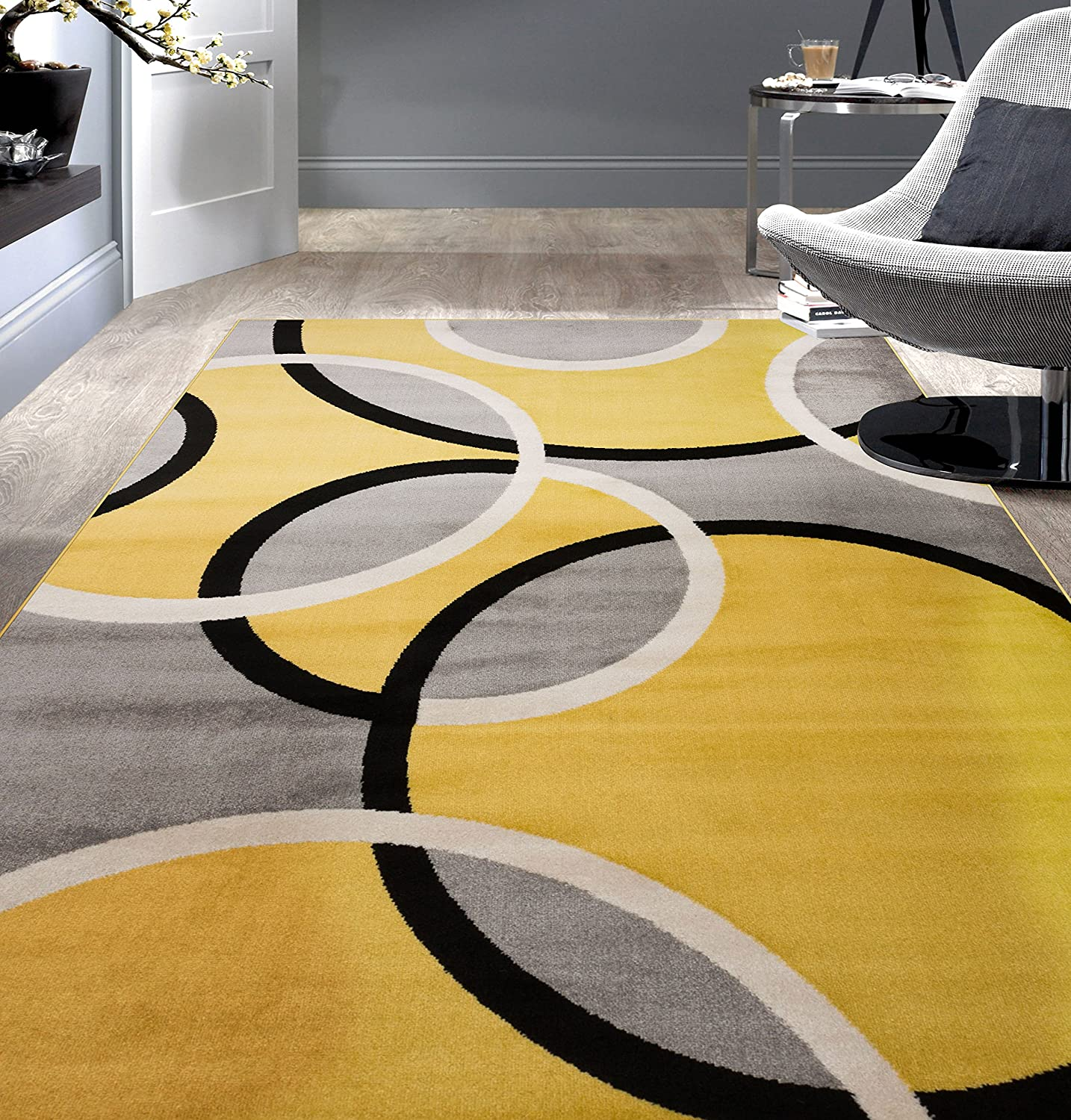 "Rugshop Contemporary Abstract Circles Area Rug 5' 3"" x 7' 3"" Yellow"
