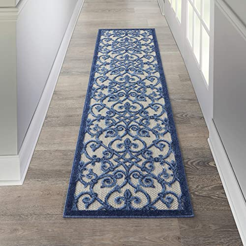 Nourison Aloha Beach Contemporary Grey/Blue Area Rug Runner 2' x 6'