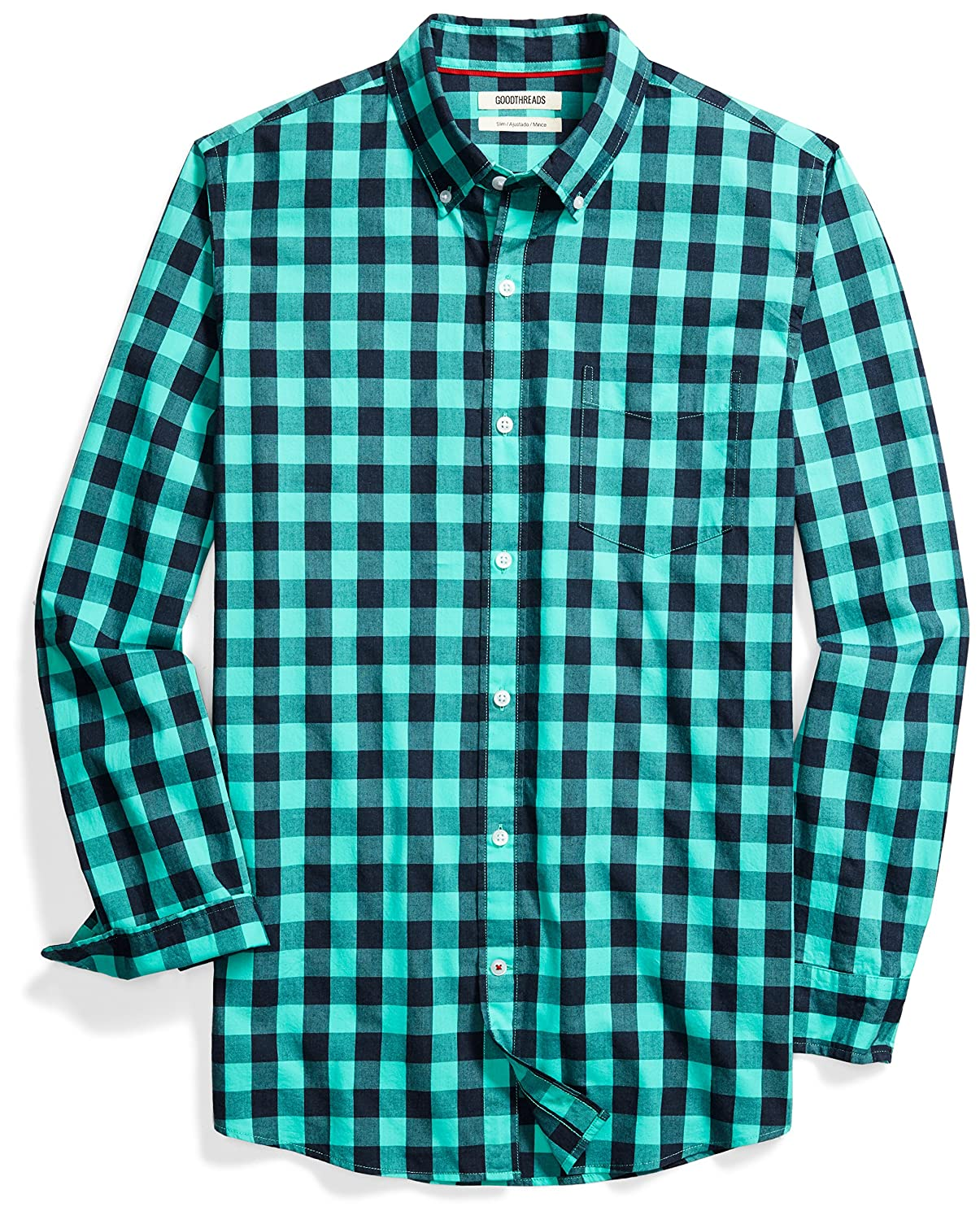 Goodthreads Mens Standard Slim-fit Long-Sleeve Heathered Large-Scale Check Shirt MGT25074SP18