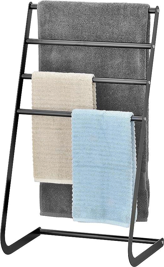 Curved Towel Holder 3 Tier Floor Standing Bathroom Drying Rack Rail Storage New