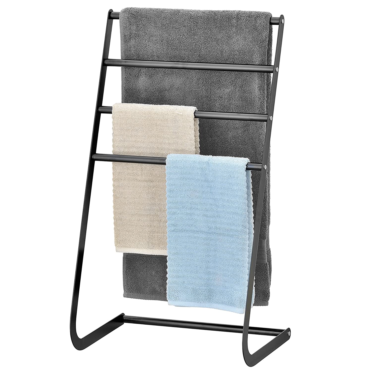 32 Inch Freestanding Metal Towel Rack 4 Tier Laundry Drying Stand Black MyGift TB-BATH0105BLK