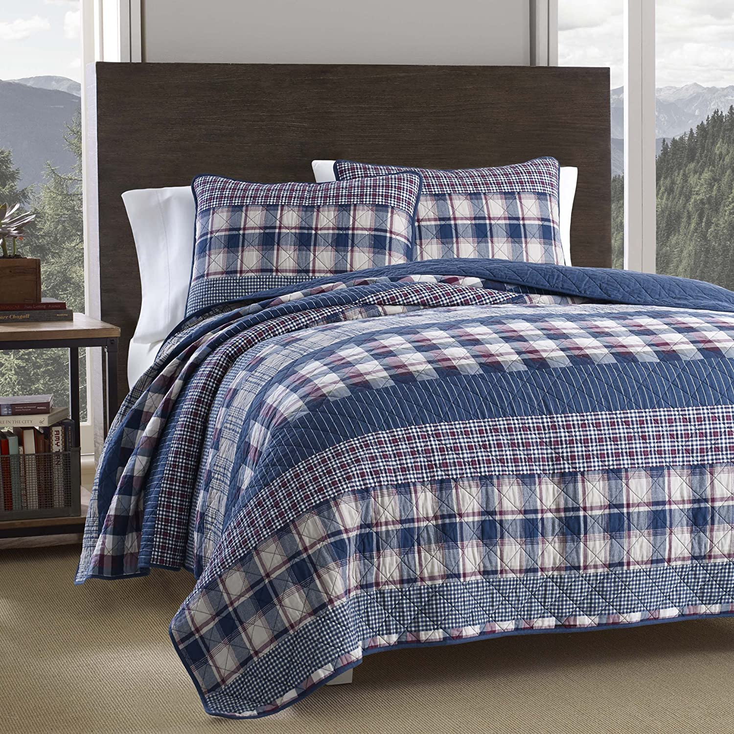 Eddie Bauer Bridgehaven Quilt Set, King, Blue