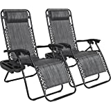 Best Choice Products B0725YSX6L Set of 2 Adjustable Zero Gravity Lounge Chair Recliners for Patio, Gray