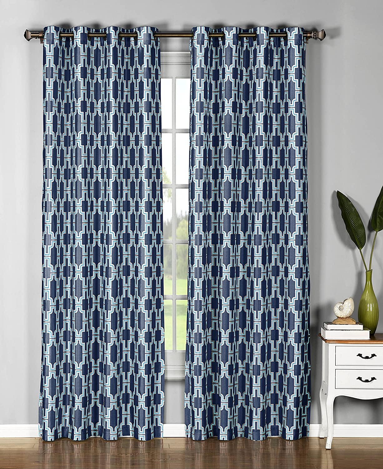 Amazon Window Elements Wesley Faux Silk Extra Wide 108 X 96 In Grommet Curtain Panel Pair Navy Home Kitchen