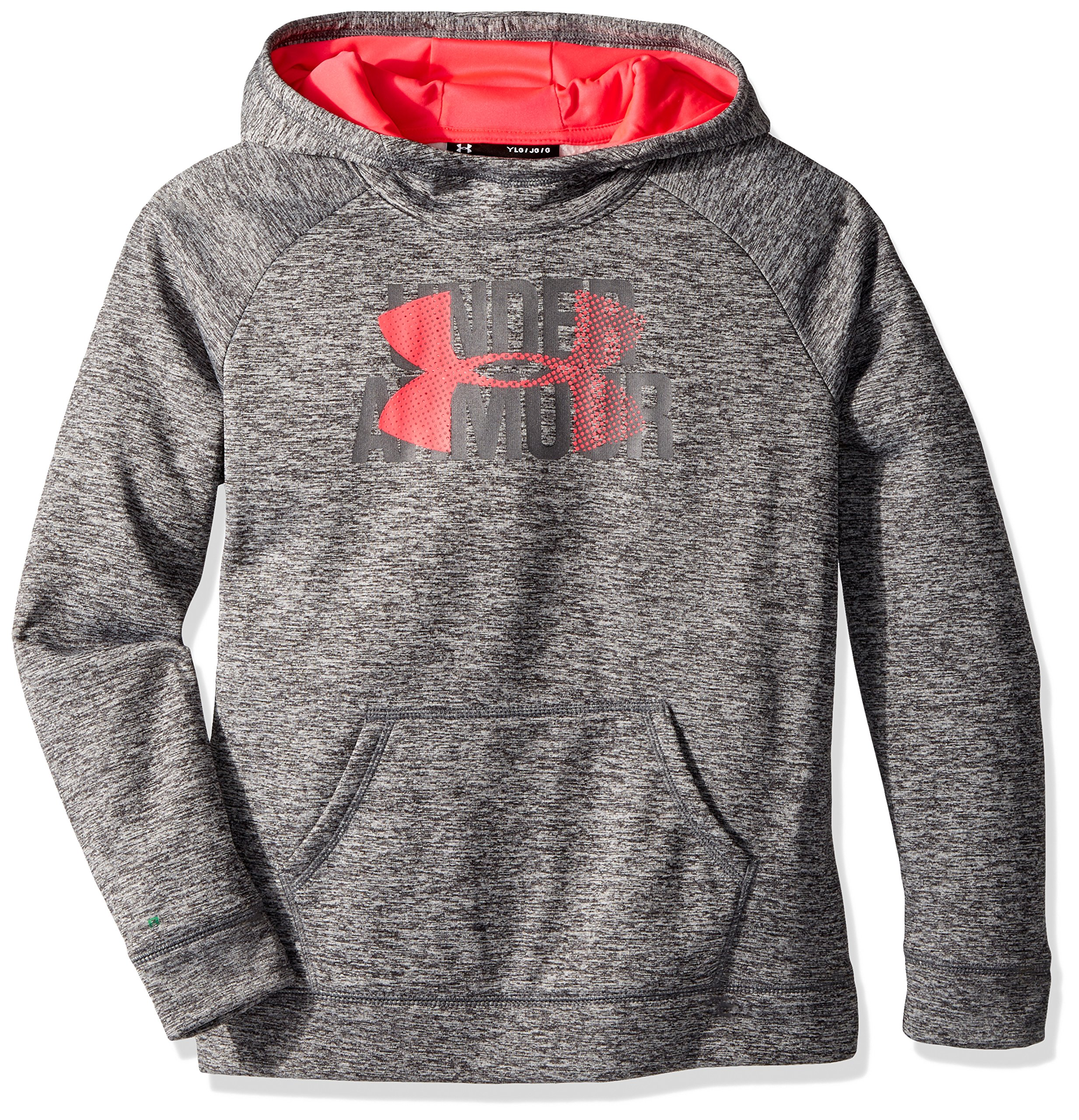 Under Armour Girls' Armour Fleece Big Logo Printed Hoodie, Black (001)/Penta Pink, Youth X-Small