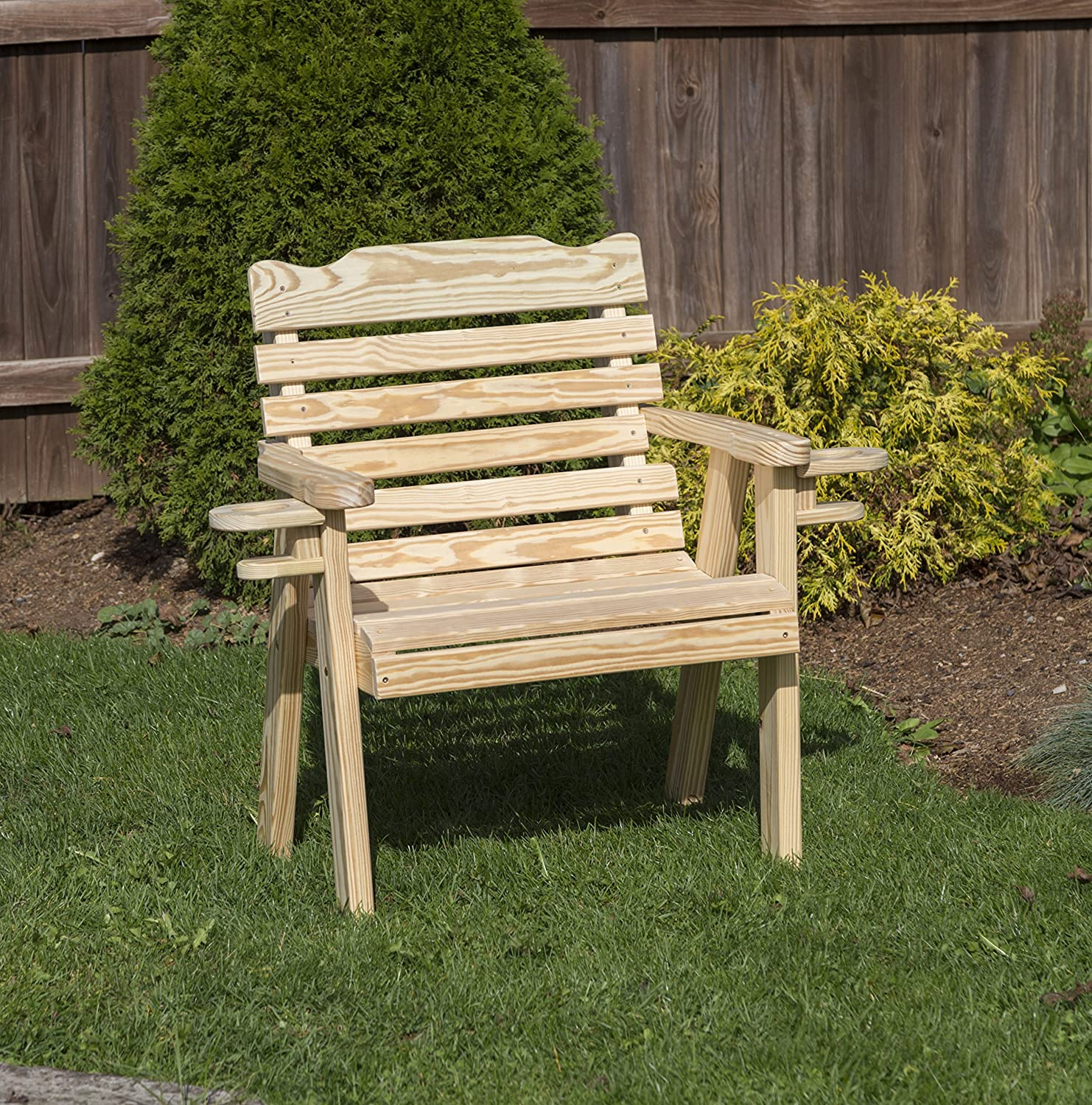Amish Heavy Duty 800 Lb Classic Park Style Pressure Treated Garden Patio Outdoor Bench Chair 2 FEET with Cup Holders Natural-Made in USA