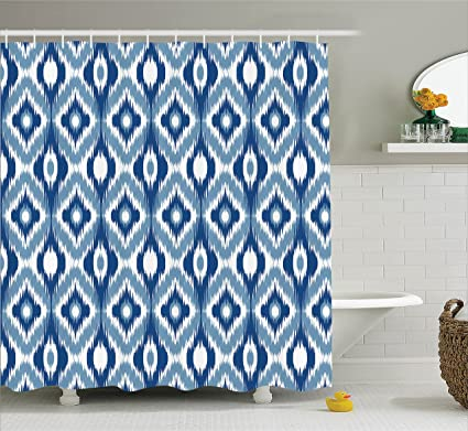 Ambesonne Ikat Shower Curtain, Ethnic Ikat Design With Regular Multi Shaft  Loom Uneven Twill