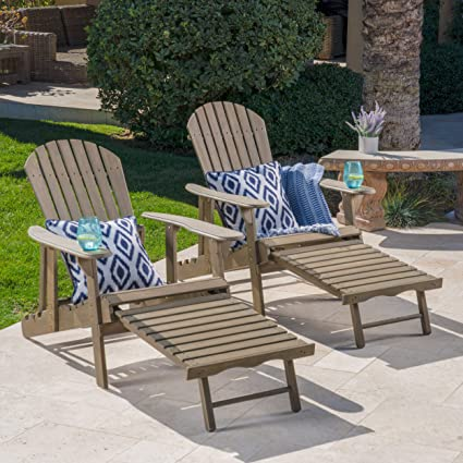 GDF Studio Halley Outdoor Reclining Wood Adirondack Chair With Footrest (2,  Grey)