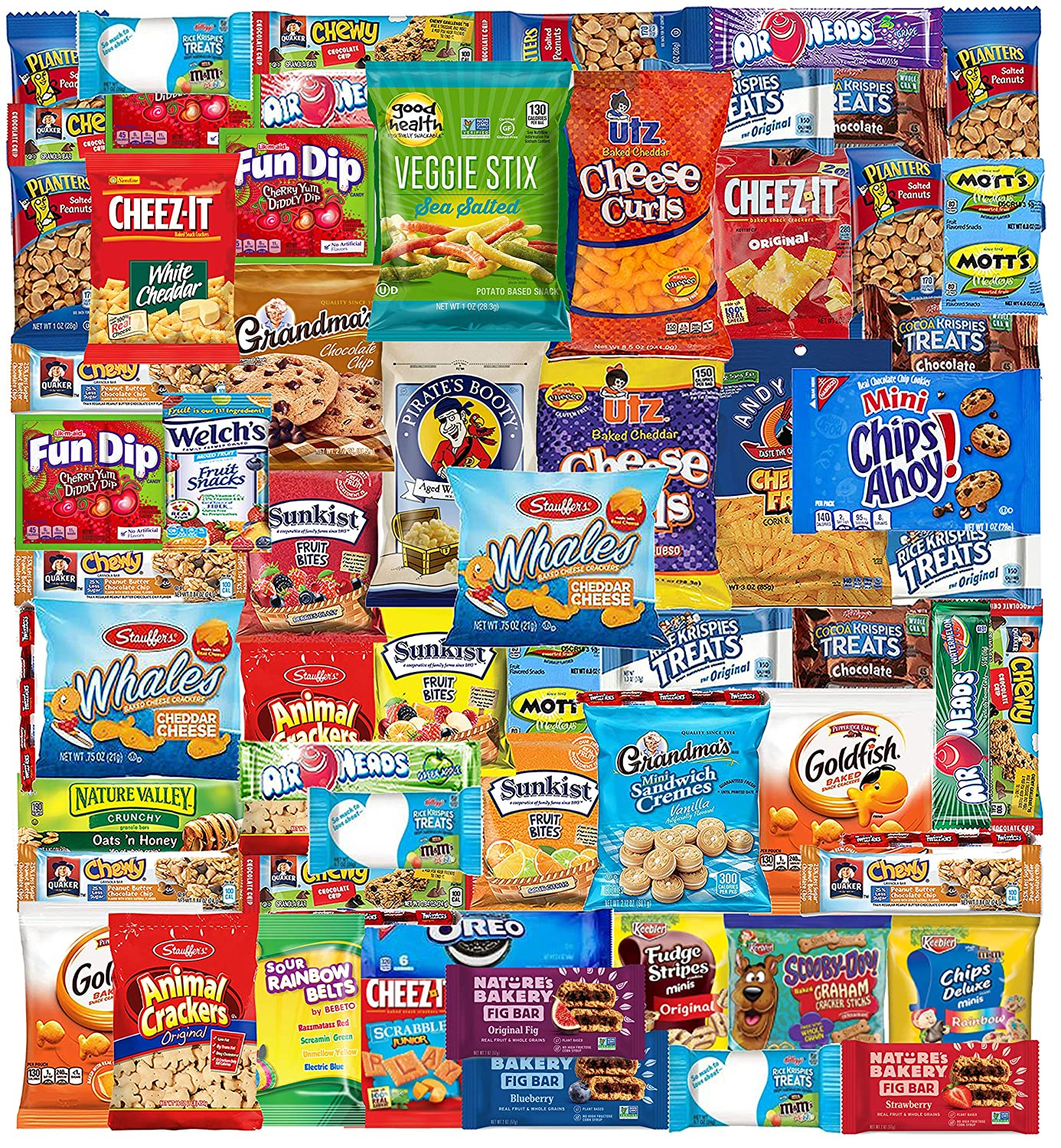 Blue Ribbon Snack Box (55 Count) Snacks Care Package Food Cookies Granola Bar Chips Candy Ultimate Variety Gift Box Pack Assortment Basket Bundle Mix Bulk Sampler College Students Office Christmas
