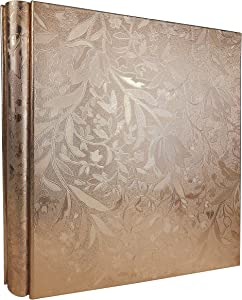 RECUTMS Photo Album 600 Pockets Black PU Leather Book Pockets Hardcover Photo Frame 4x6 Photos Wedding Gift Valentines Day Present (Champagne Gold S-Leaf)