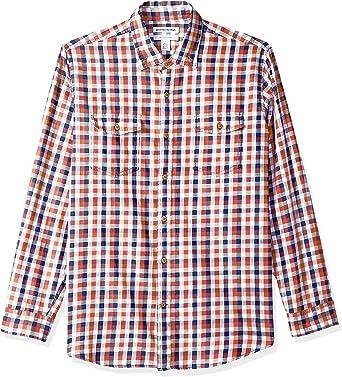 Amazon Essentials - Camisa de sarga con dos bolsillos y manga larga para hombre: Amazon.es: Ropa y accesorios