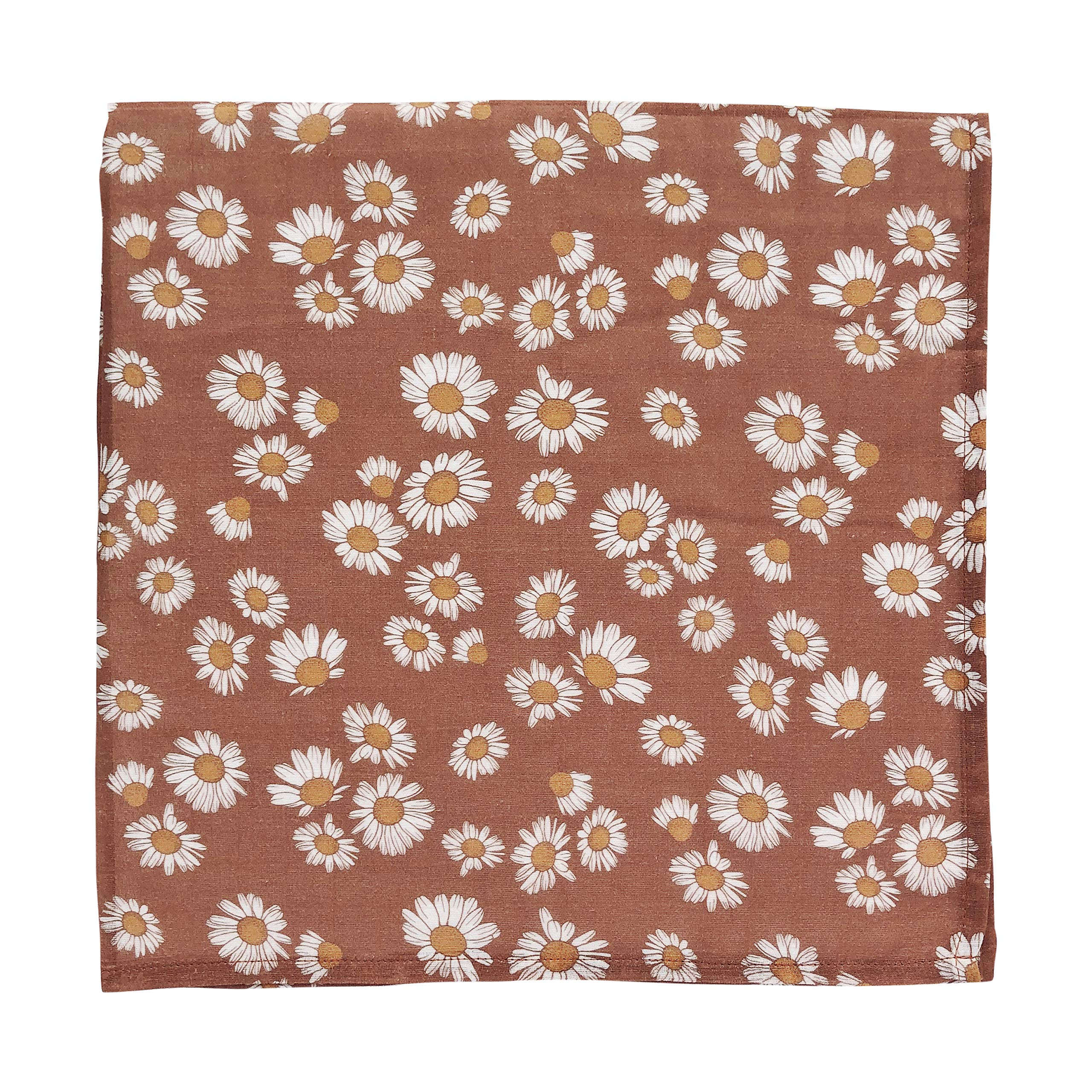 Mini Scout Daisy (Clay Brown) - Muslin Swaddle Blanket, Newborn Essentials Wrap for Girls, Floral Infant Receiving Cover - Best for Baby Shower Registry Gift by Mini Scout