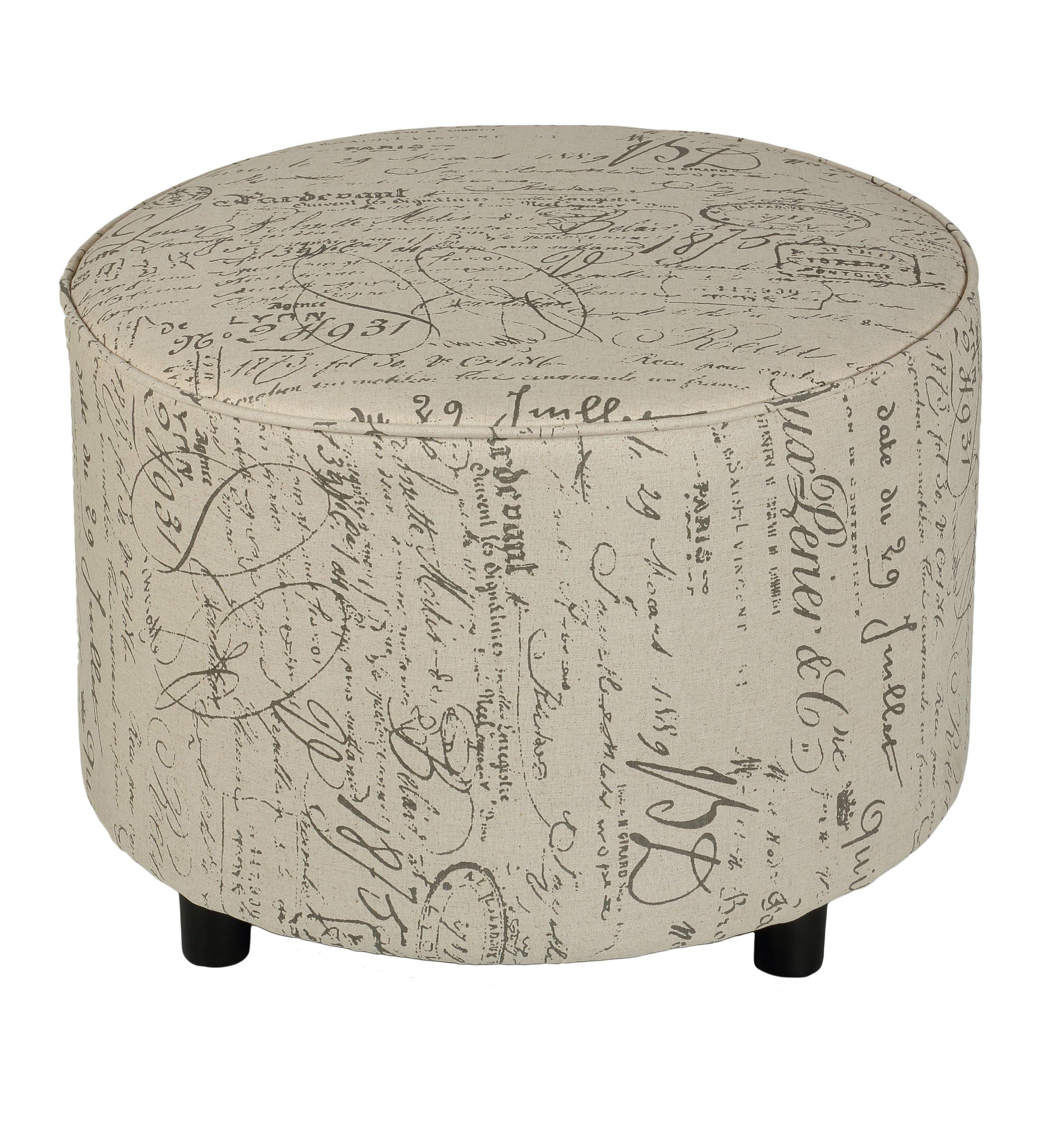 Cortesi Home Shakespeare Round Ottoman in Beige Script Fabric