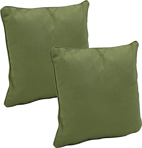 Sunnydaze Set of 2 Outdoor Decorative Throw Pillows – 16-Inch Square Olefin Fabric Accent Toss Pillows for Patio Furniture – Pillow Set for Outside Bench, Chair and Loveseat – Dark Green