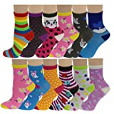 Amazon Price History for:12 Pairs Pack Kids Girls Colorful Creative Fun Novelty Design Crew Socks