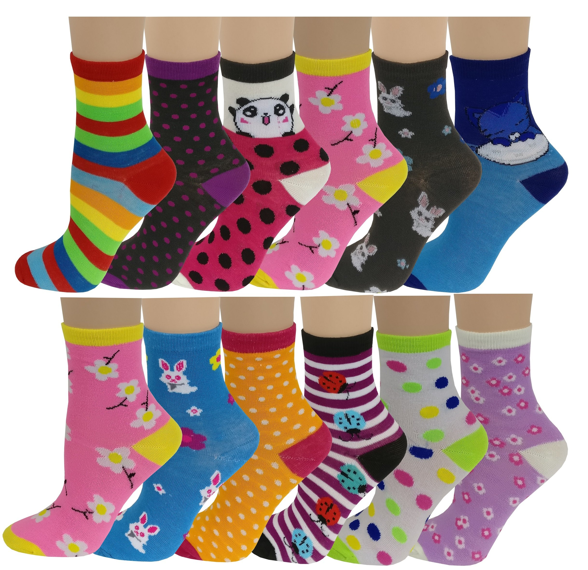 12 Pairs Pack Kids Girls Colorful Creative Fun Novelty Design Crew Socks (6-8, Pretty)