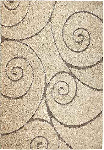 Lorena Shag Collection Cream Swirl Shaggy Area Rug