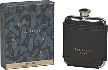 Ted Baker ATED454 Mens Black Brouge Monkian Stainless Steel Hip Flask with Leather Effect Case 6