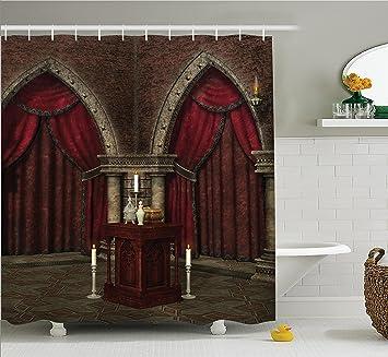 Amazon Com Ambesonne Gothic House Decor Shower Curtain Set