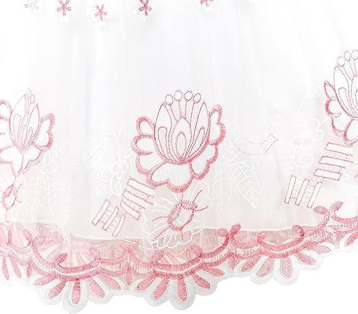 Girls Dress Pink Flower Embroidered Lace Illusion Yoke Princess Size 5-12