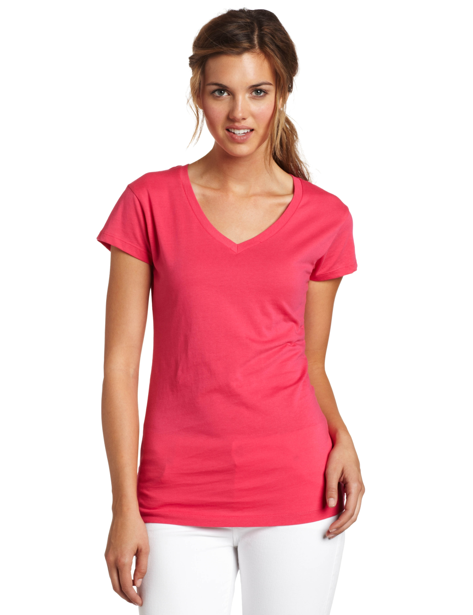 Dickies Girl Juniors Short Sleeve V-Neck Tee,Lipstick Pink,Small